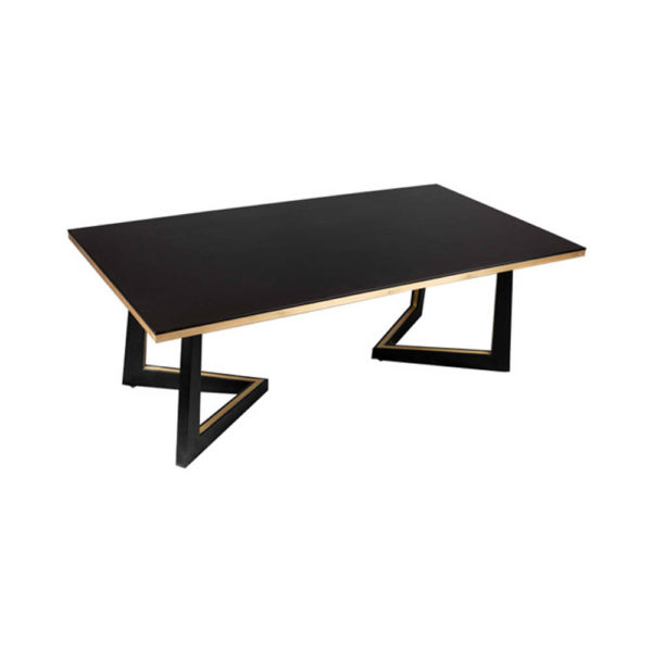 Rion Dark Brown Wood and Brass Coffee Table Beside View
