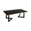 Rion Dark Brown Wood and Brass Coffee Table 2