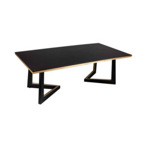 Rion Dark Brown Wood and Brass Coffee Table Corner View