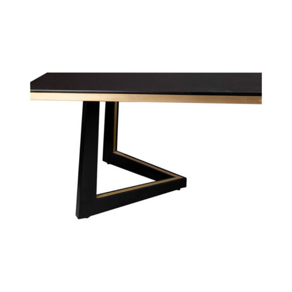 Rion Dark Brown Wood and Brass Coffee Table Details