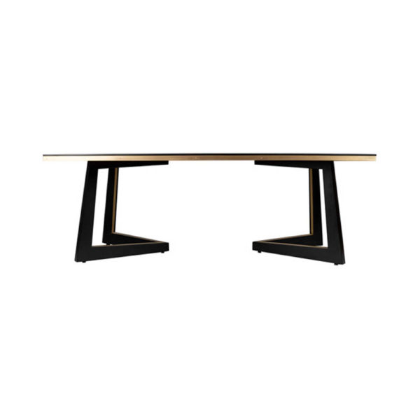 Rion Dark Brown Wood and Brass Coffee Table Front View