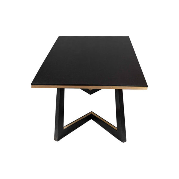 Rion Dark Brown Wood and Brass Coffee Table Right View