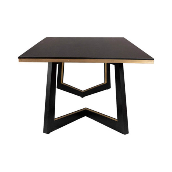 Rion Dark Brown Wood and Brass Coffee Table Side View
