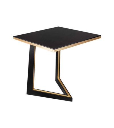 Rion Wooden Brown Side Table with Brass Inlay