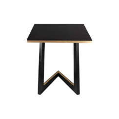 Rion Wooden Brown Side Table with Brass Inlay View