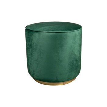Verona Round Velvet Green Pouf With Brass Base