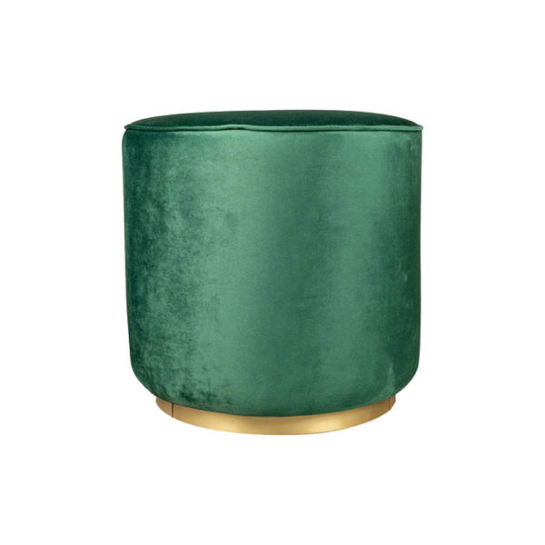 Verona Round Velvet Green Pouf With Brass Base Front