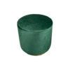 Verona Round Velvet Green Pouf with Brass Base 3