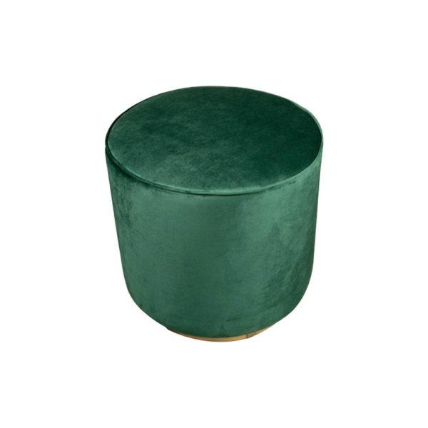 Verona Round Velvet Green Pouf With Brass Base Top