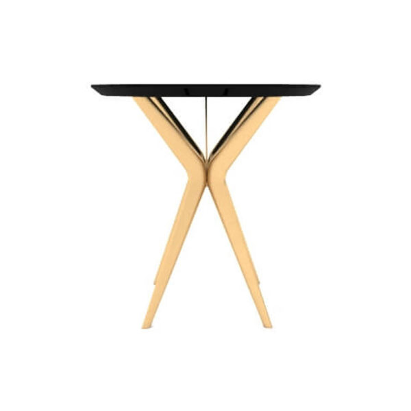 Wellington Black Side Table with Golden Legs Front