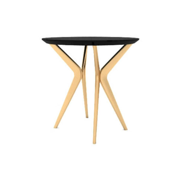 Wellington Black Side Table with Golden Legs Side