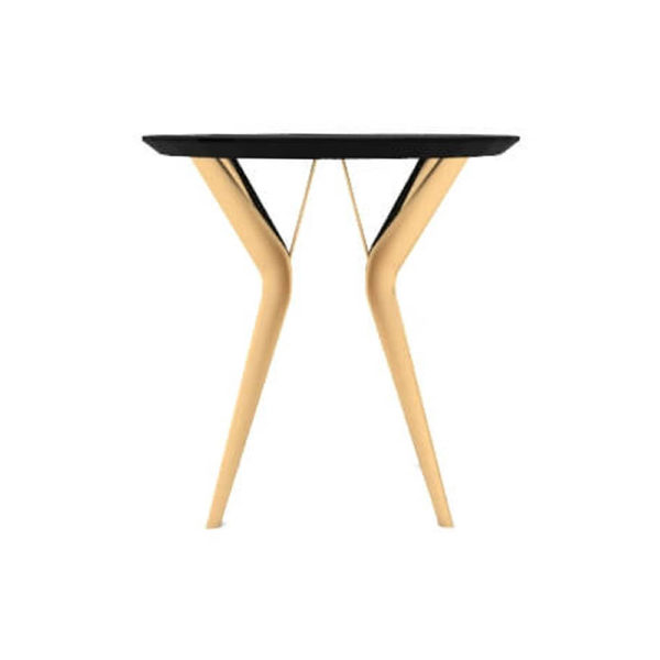 Wellington Black Side Table with Golden Legs Side View
