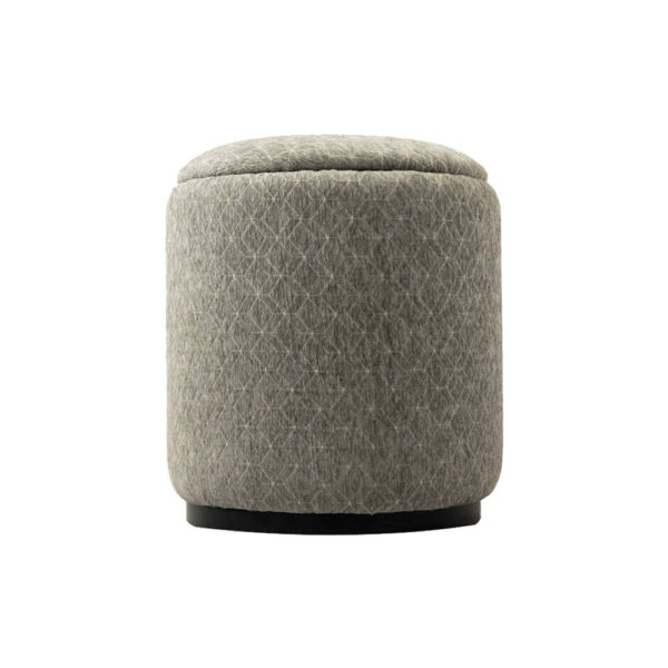 Yulia Round Patterned Pouf Side View