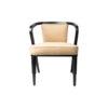 Zaria Beige Velvet Dining Chair with Armrest 1