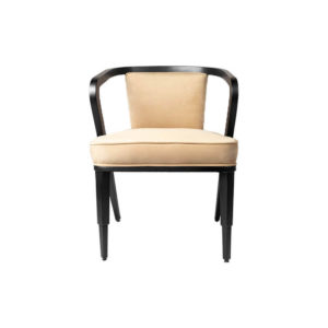 Zaria Beige Velvet Dining Chair with Armrest