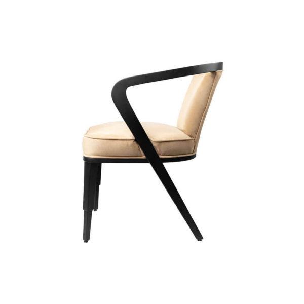Zaria Beige Velvet Dining Chair with Armrest Left