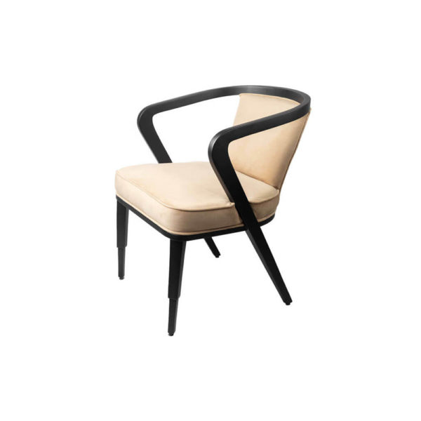 Zaria Beige Velvet Dining Chair with Armrest Left Side