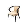Zaria Beige Velvet Dining Chair with Armrest 5