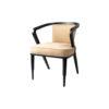 Zaria Beige Velvet Dining Chair with Armrest 4