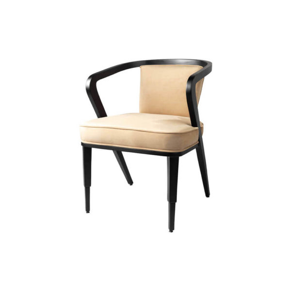 Zaria Beige Velvet Dining Chair with Armrest Side View