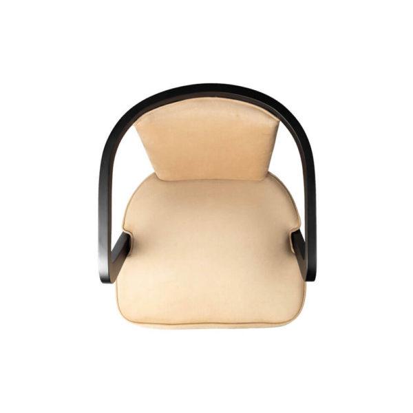 Zaria Beige Velvet Dining Chair with Armrest Top