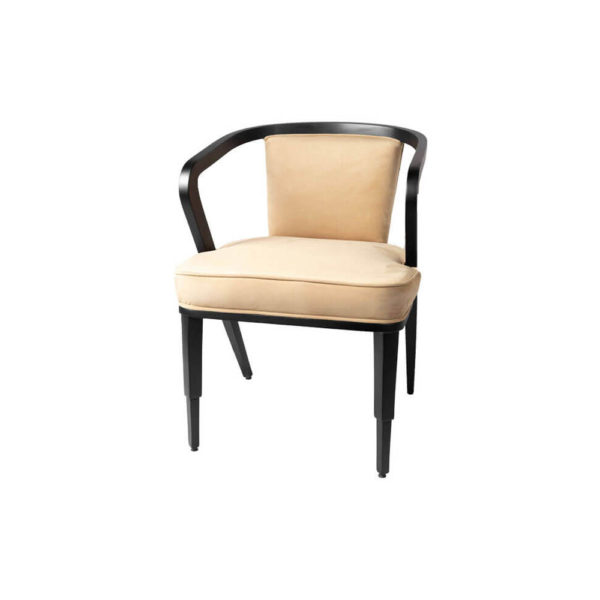 Zaria Beige Velvet Dining Chair with Armrest View