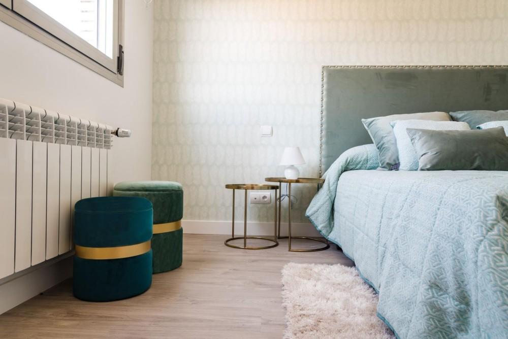 luxury bedroom with Turquoise Pouf
