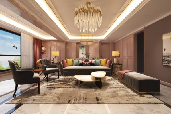 luxury living room with cross leg armchairs