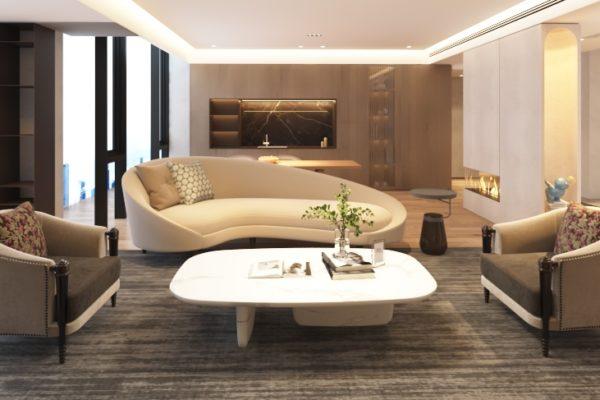 elegant living room witn Ramses Armchairs