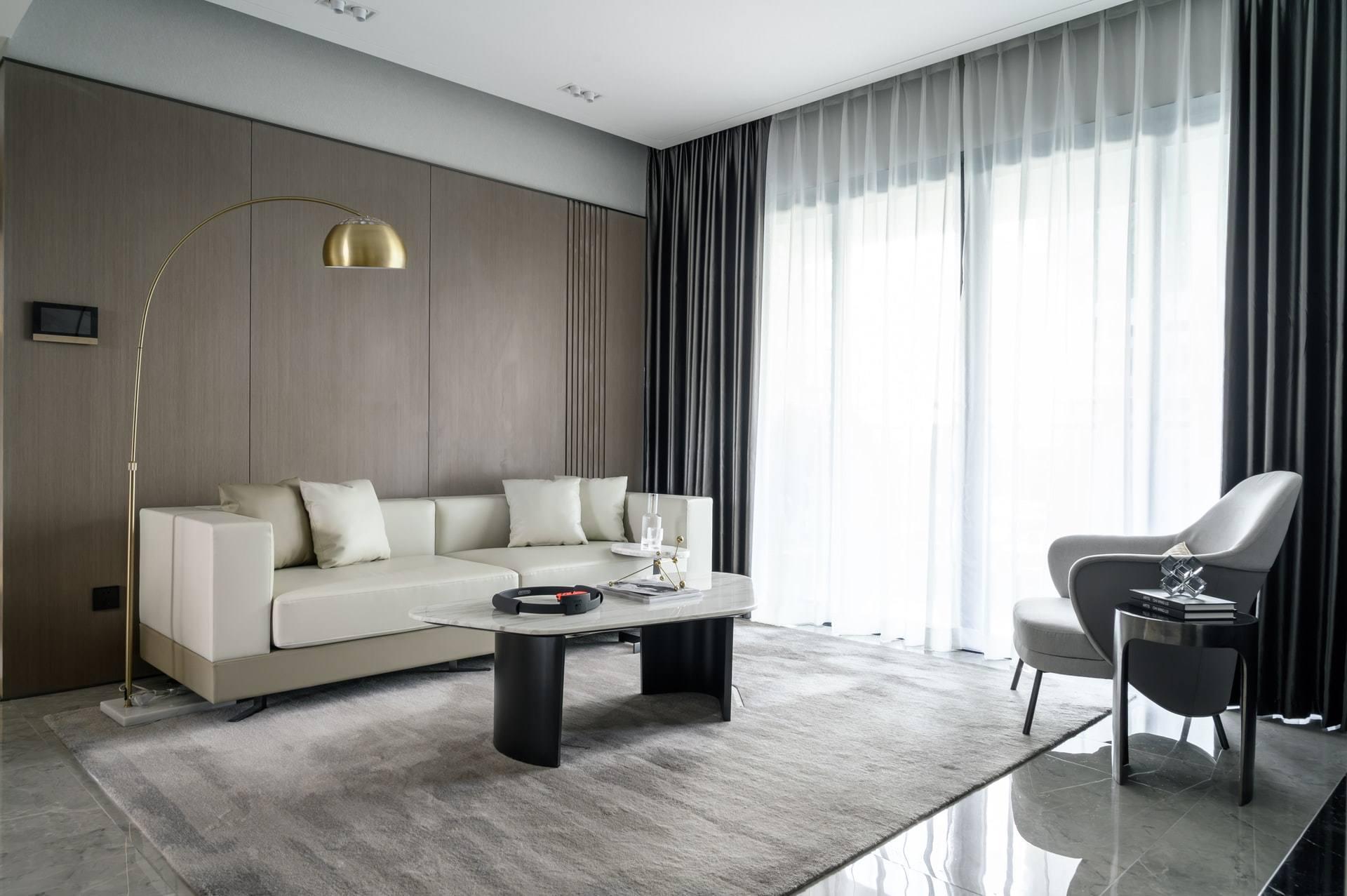 elegant room with cream marble coffee table