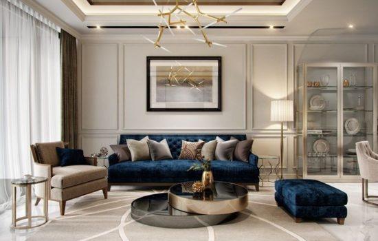 living room with luxury blue velvet sofa