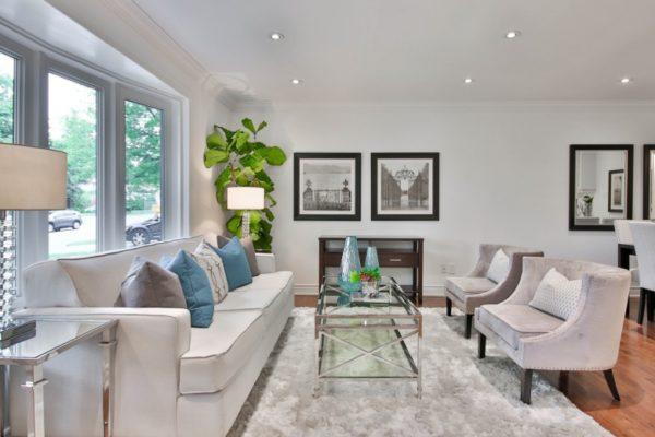 luxury living room with velvet armchairs uk