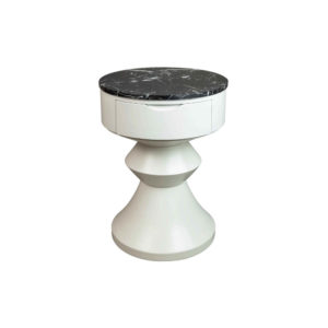 Alexa Round Ivory White Bedside Table with Drawer