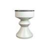 Alexa Round Ivory White Bedside Table with Drawer 4