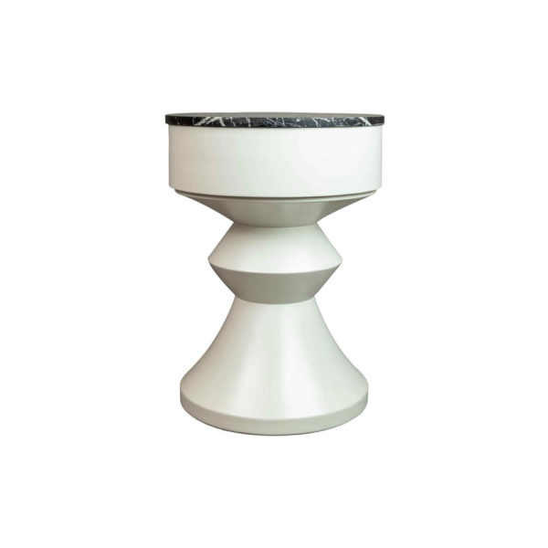 Alexa Round Ivory White Bedside Table with Drawer Back