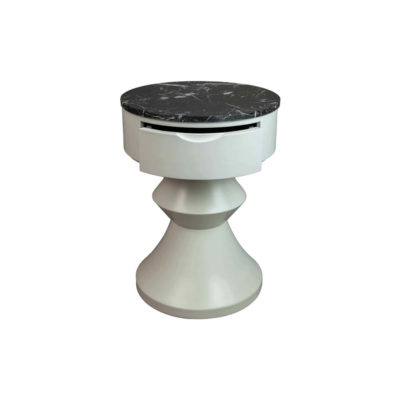 Alexa Round Ivory White Bedside Table with Drawer Front