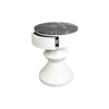 Alexa Round Ivory White Bedside Table with Drawer 3