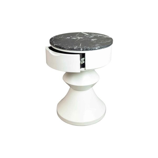 Alexa Round Ivory White Bedside Table with Drawer Side