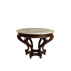 Bentley Antique Round Dining Table With Curved Legs