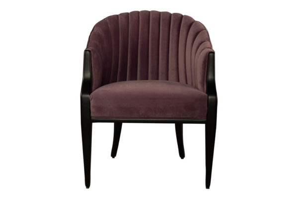 Bogo Upholstered Striped Armchair with Black Legs Dark Purple