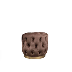 Boho Round Buttoned Chocolate Brown Pouf with Brass Base