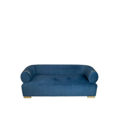 Clare 3 Seaters Blue Velvet Sofa With Brass Inlay