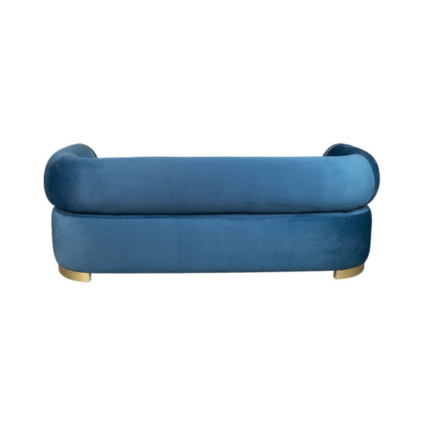 Clare 3 Seaters Blue Velvet Sofa With Brass Inlay Back