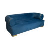 Clare 3 Seaters Blue Velvet Sofa with Brass Inlay 2