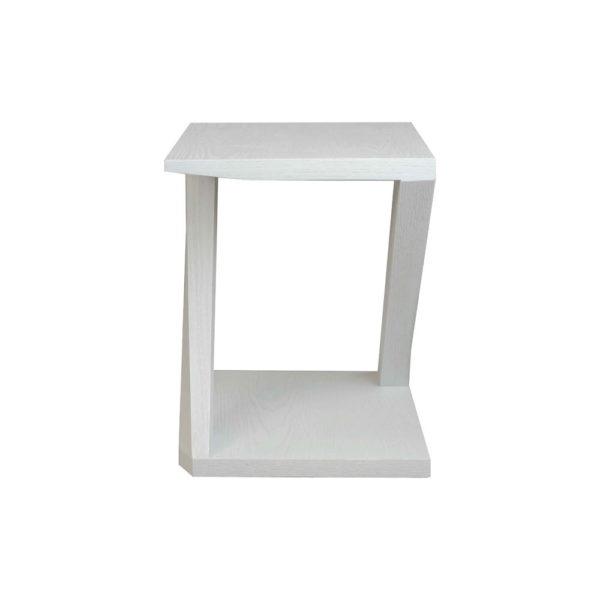 Claremont Oak Gray Z Shaped Side Table Side View