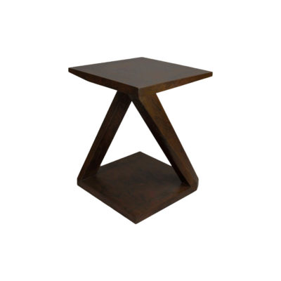Claremont Z Shaped Brown Walnut Side Table