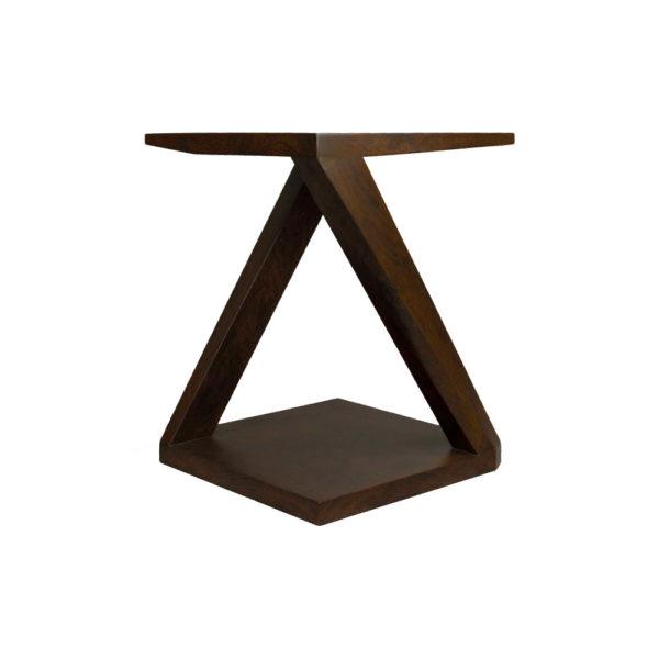 Claremont Z Shaped Brown Walnut Side Table Corner
