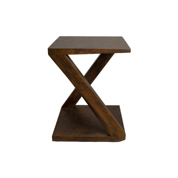 Claremont Z Shaped Brown Walnut Side Table Side A