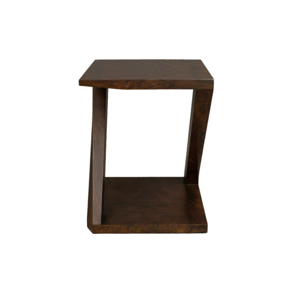 Claremont Z Shaped Brown Walnut Side Table Side View