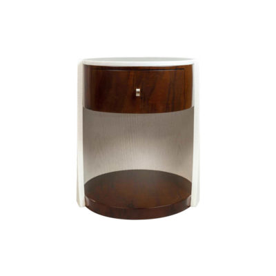 Corndell Cream White Contemporary Bedside Table Front